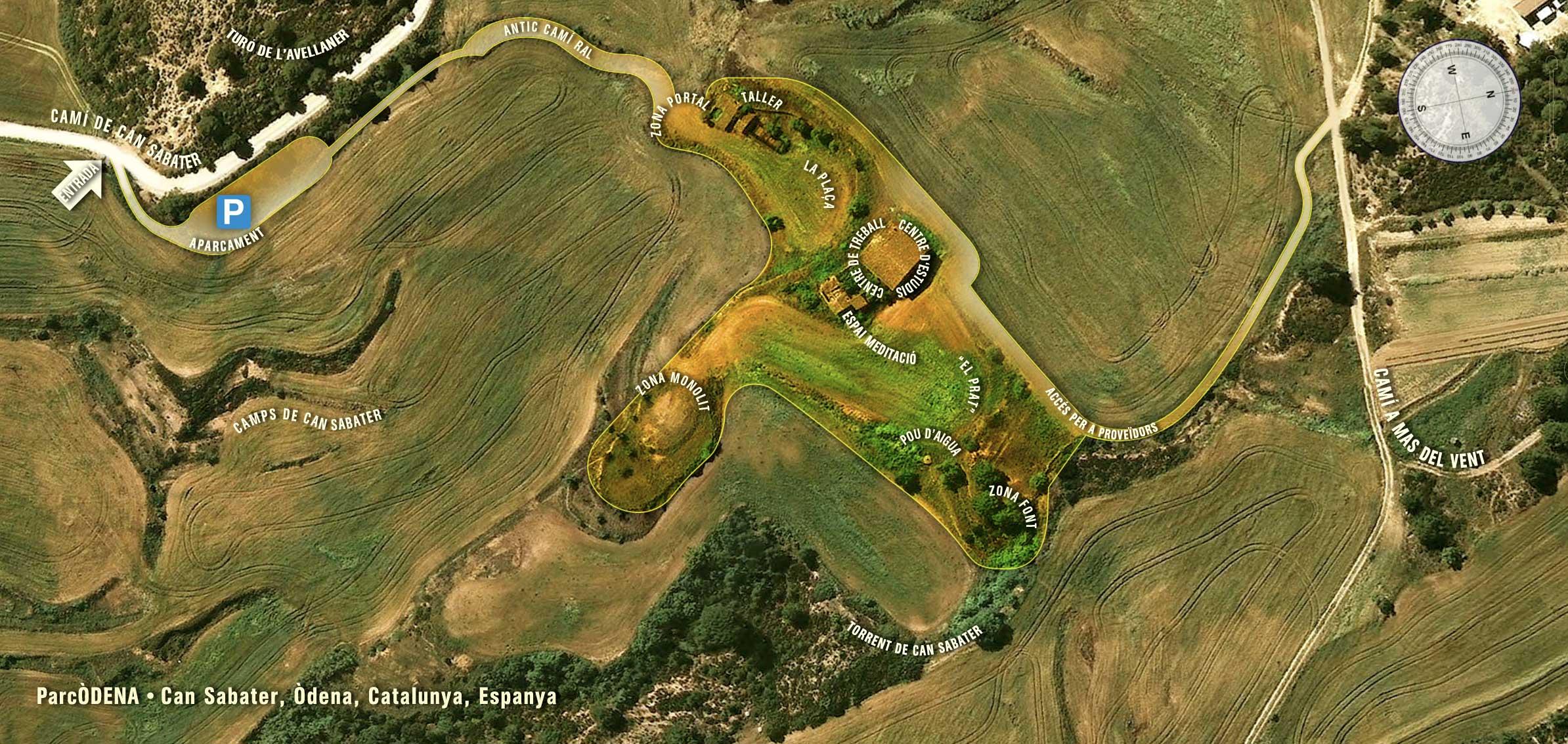 Plano de ParcÒDENA: caminos de acceso, límites del terreno, edificaciones y zonas de los momumentos.